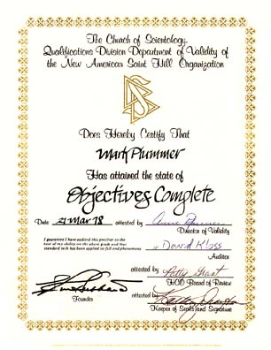 My scientology certificates awards and sea org contracts objectives auditing completion certificate dated march 21 1978 yadclub Image collections